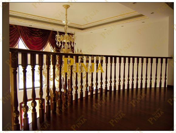 描金实木楼梯扶手图片